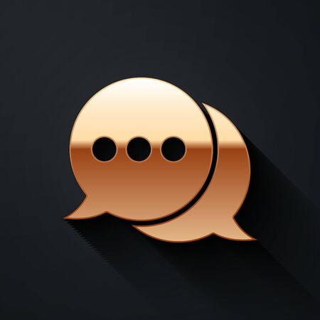 Gold Speech bubble chat icon isolated on black background. Message icon. Communication or comment chat symbol. Long shadow style. Vector Illustration