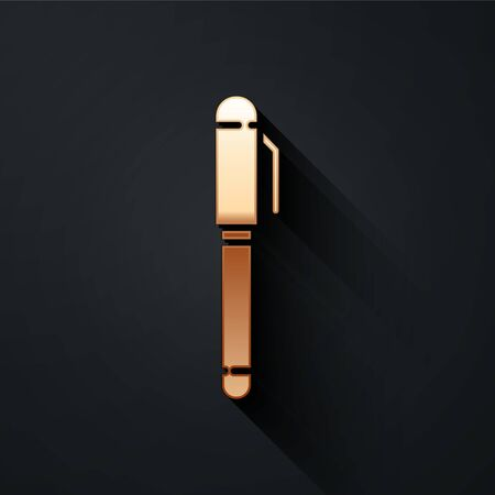 Gold Pen icon isolated on black background. Long shadow style. Vector Illustration