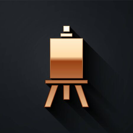 Gold Wood easel or painting art boards icon isolated on black background. Long shadow style. Vector Illustration