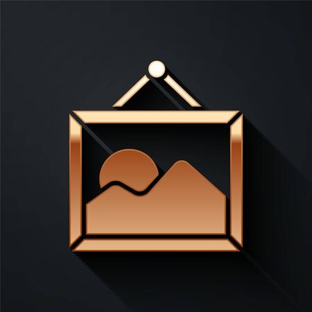 Gold Picture landscape icon isolated on black background. Long shadow style. Vector Illustration