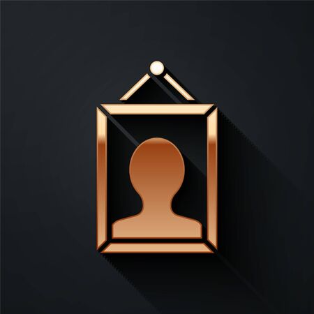 Gold Picture icon isolated on black background. Long shadow style. Vector Illustration Фото со стока - 140961961
