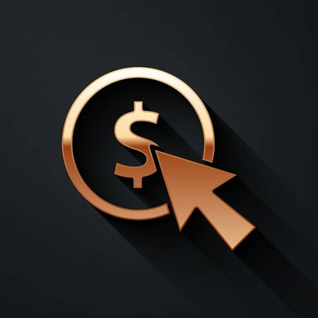 Gold Cursor and coin icon isolated on black background. Dollar or USD symbol. Cash Banking currency sign. Long shadow style. Vector Illustration