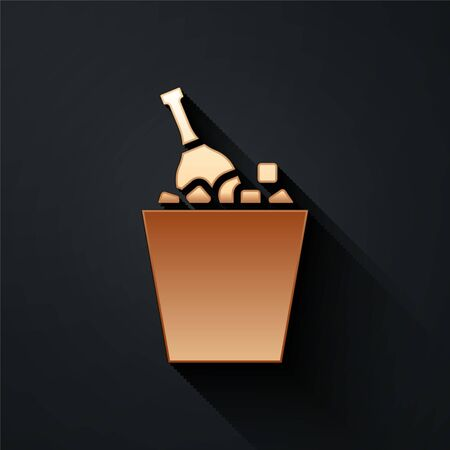 Gold Bottle of champagne in an ice bucket icon isolated on black background. Long shadow style. Vector Illustration
