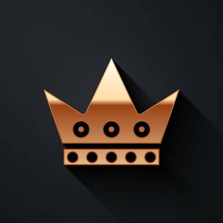 Gold King playing card icon isolated on black background. Casino gambling. Long shadow style. Vector Illustration 일러스트