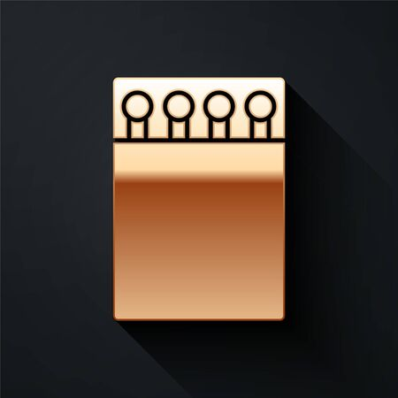 Gold Open matchbox and matches icon isolated on black background. Long shadow style. Vector Illustration Ilustração