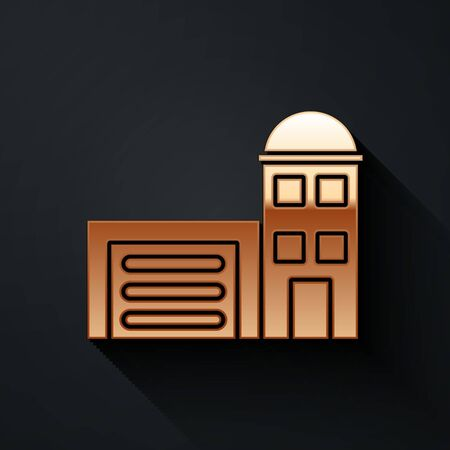 Gold Building of fire station icon isolated on black background. Fire department building. Long shadow style. Vector Illustration