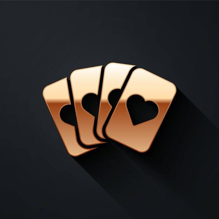 Gold Deck of playing cards icon isolated on black background. Casino gambling. Long shadow style. Vector Illustration