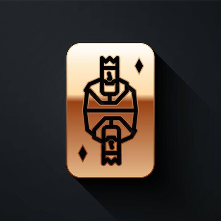Gold King playing card with diamonds symbol icon isolated on black background. Casino gambling. Long shadow style. Vector Illustration