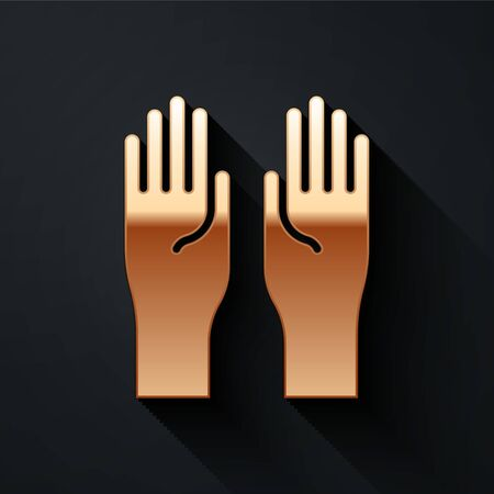 Gold Rubber gloves icon isolated on black background. Latex hand protection sign. Housework cleaning equipment symbol. Long shadow style. Vector Illustration Vettoriali