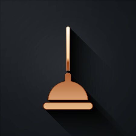 Gold Rubber plunger with wooden handle for pipe cleaning icon isolated on black background. Toilet plunger. Long shadow style. Vector Illustration Çizim