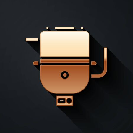 Gold Electric boiler for heating water icon isolated on black background. Long shadow style. Vector Illustration