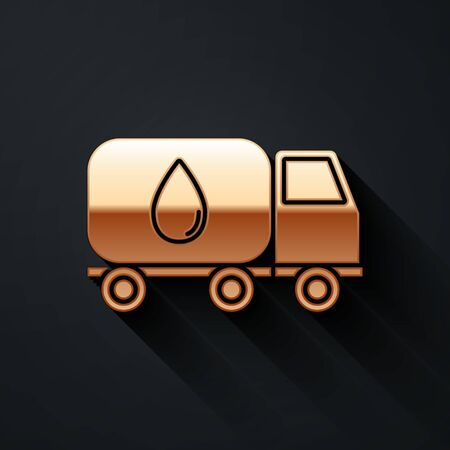 Gold Water delivery truck icon isolated on black background. Long shadow style. Vector Illustration