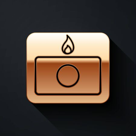 Gold Fire alarm system icon isolated on black background. Pull danger fire safety box. Long shadow style. Vector Illustration