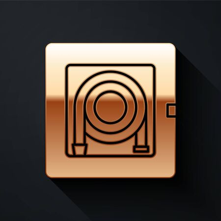 Gold Fire hose cabinet icon isolated on black background. Long shadow style. Vector Illustration Stock Illustratie