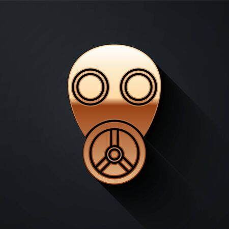 Gold Gas mask icon isolated on black background. Respirator sign. Long shadow style. Vector Illustration
