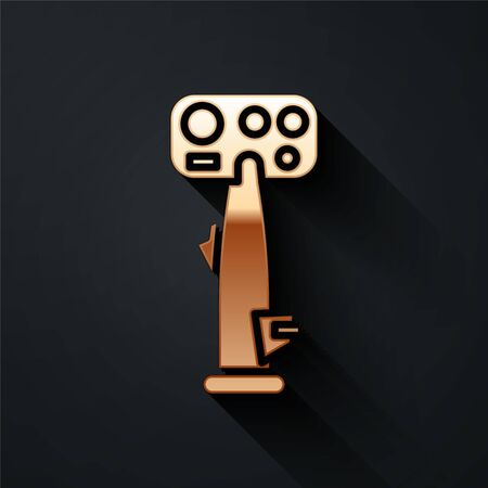 Gold Aircraft steering helm icon isolated on black background. Aircraft control wheel. Long shadow style. Vector Illustration