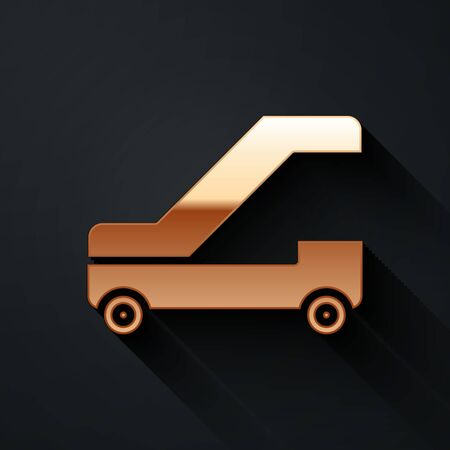 Gold Passenger ladder for plane boarding icon isolated on black background. Airport stair travel. Long shadow style. Vector Illustration 向量圖像