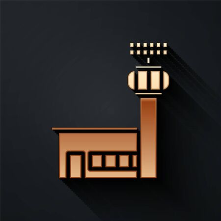 Gold Airport control tower icon isolated on black background. Long shadow style. Vector Illustration