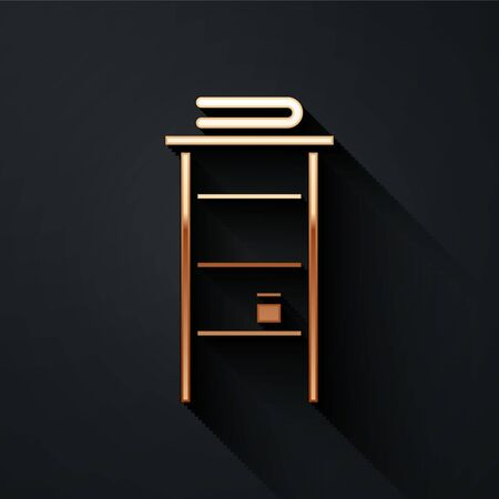 Gold Bathroom rack with shelves for towels icon isolated on black background. Furniture object for bath room interior. Long shadow style. Vector Illustration