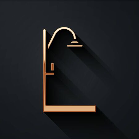 Gold Shower icon isolated on black background. Long shadow style. Vector Illustration