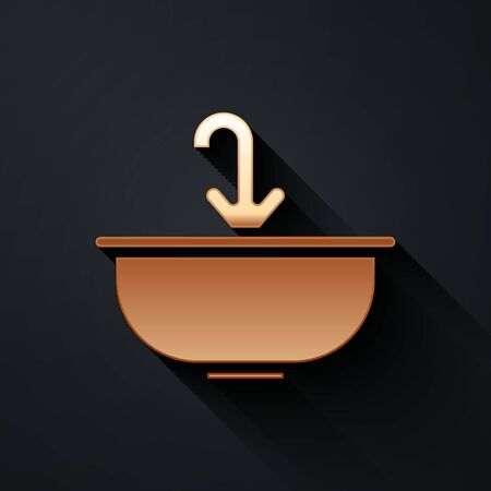 Gold Washbasin with water tap icon isolated on black background. Long shadow style. Vector Illustration