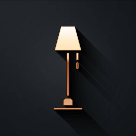 Gold Floor lamp icon isolated on black background. Long shadow style. Vector Illustration Illustration