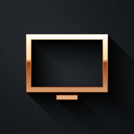Gold Picture frame on table icon isolated on black background. Long shadow style. Vector Illustration Иллюстрация