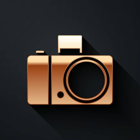 Gold Photo camera icon isolated on black background. Foto camera icon. Long shadow style. Vector Illustration