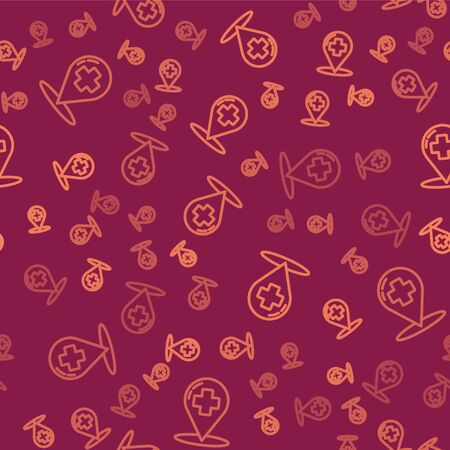 Brown line Medical map pointer with cross hospital icon isolated seamless pattern on red background. Vector Illustration