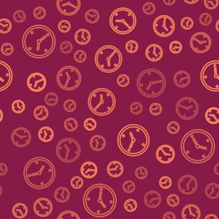 Brown line Fast time delivery icon isolated seamless pattern on red background. Timely service, stopwatch in motion, deadline concept, clock speed. Vector Illustration 向量圖像