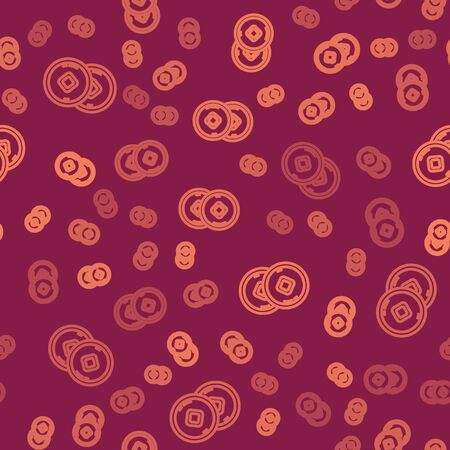 Brown line Chinese Yuan currency symbol icon isolated seamless pattern on red background. Coin money. Banking currency sign. Cash symbol. Vector Illustration