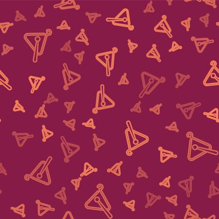 Brown line Triangle musical instrument icon isolated seamless pattern on red background. Vector Illustration
