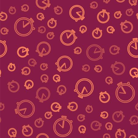 Brown line Stopwatch icon isolated seamless pattern on red background. Time timer sign. Chronometer sign. Vector Illustration