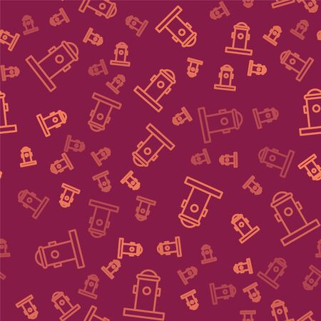 Brown line Fire hydrant icon isolated seamless pattern on red background. Vector Illustration Ilustração