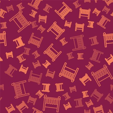 Brown line Baby crib cradle bed icon isolated seamless pattern on red background. Vector Illustration Illusztráció