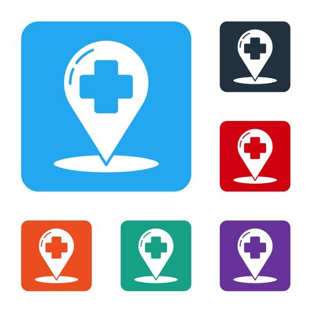 White Medical map pointer with cross hospital icon isolated on white background. Set icons in color square buttons. Vector Illustration