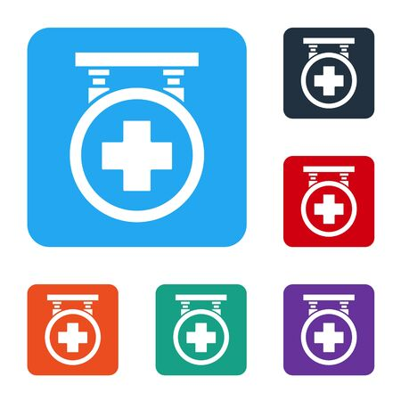 White Hospital signboard icon isolated on white background. Set icons in color square buttons. Vector Illustration