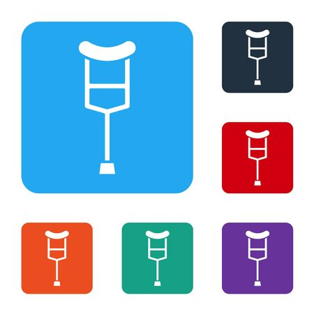 White Crutch or crutches icon isolated on white background. Equipment for rehabilitation of people with diseases of musculoskeletal system. Set icons in color square buttons. Vector Illustration