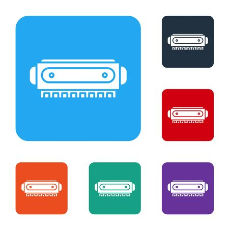 White Harmonica icon isolated on white background. Musical instrument. Set icons in color square buttons. Vector Illustration 矢量图像