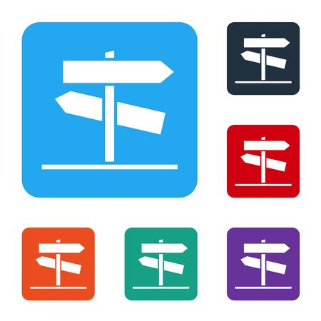 White Road traffic sign. Signpost icon isolated on white background. Pointer symbol. Street information sign. Direction sign. Set icons in color square buttons. Vector Illustration