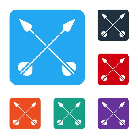White Crossed arrows icon isolated on white background. Set icons in color square buttons. Vector Illustration