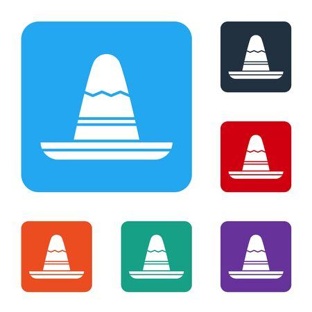 White Traditional mexican sombrero hat icon isolated on white background. Set icons in color square buttons. Vector Illustration