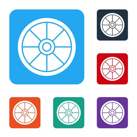 White Old wooden wheel icon isolated on white background. Set icons in color square buttons. Vector Illustration Vector Illustratie
