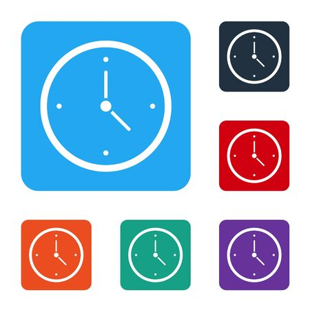 White Fast time delivery icon isolated on white background. Timely service, stopwatch in motion, deadline concept, clock speed. Set icons in color square buttons. Vector Illustration