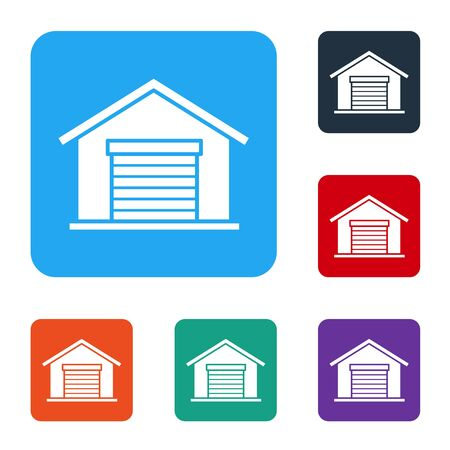 White Warehouse icon isolated on white background. Set icons in color square buttons. Vector Illustration Ilustração