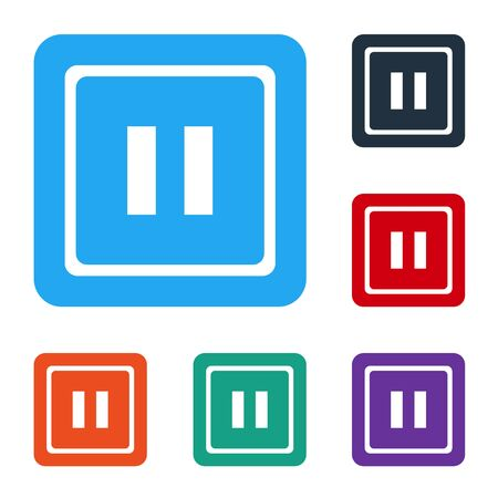 White Pause button icon isolated on white background. Set icons in color square buttons. Vector Illustration