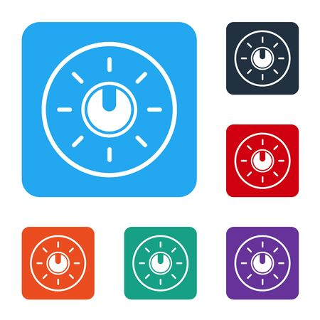 White Dial knob level technology settings icon isolated on white background. Volume button, sound control, analog regulator. Set icons in color square buttons. Vector Illustration 일러스트