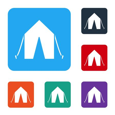 White Tourist tent icon isolated on white background. Camping symbol. Set icons in color square buttons. Vector Illustration