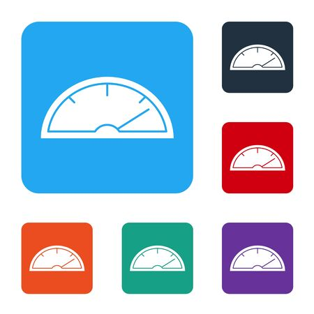 White Speedometer icon isolated on white background. Set icons in color square buttons. Vector Illustration