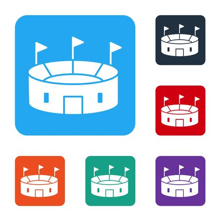 White Hockey stadium icon isolated on white background. Hockey arena. Set icons in color square buttons. Vector Illustration
